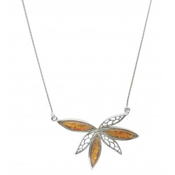 Necklace in silver and honey amber flower