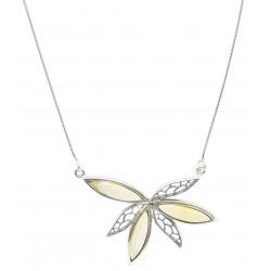 Frau Halskette mit Silber Blumen und Königs Bernstein