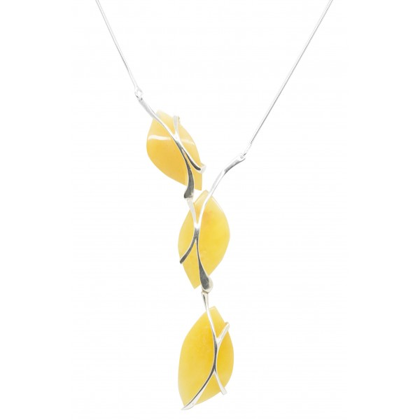 Collier argent avec trio de pendentif en ambre royal