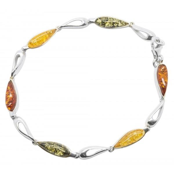 Bracelet d'ambre multicouleur et argent 925/1000