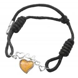 925/1000 pulsera de plata con un corazón de color ámbar