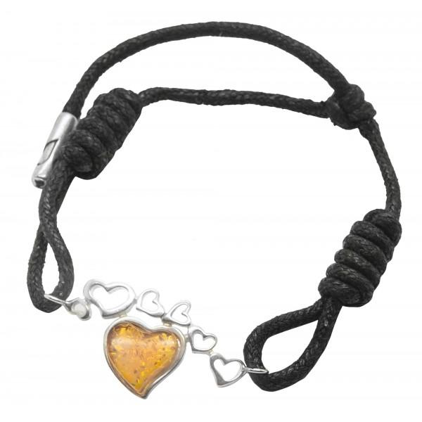 Bracelet en argent 925/1000 avec un coeur en ambre