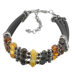 Bracelet style grecque avec perle d'ambre multicolore