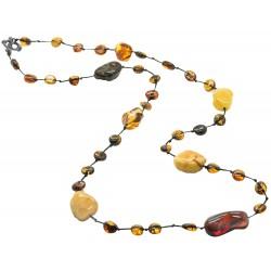 Lange Bernstein erwachsene Halskette mit bunten Rohbernstein Steinen