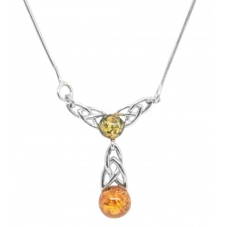 Necklace in silver and amber cognac, green