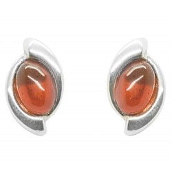 Silver and Amber cognac earring