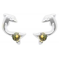 Boucle d'oreille Argent forme Dauphin et perle d'Ambre vert