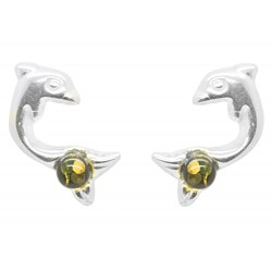 Silver dolphin and green amber pearl earring
