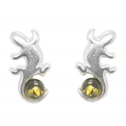 Salamander-Ohrring-Silber und Grün Gelb