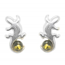 Silver and green amber Salamander earring