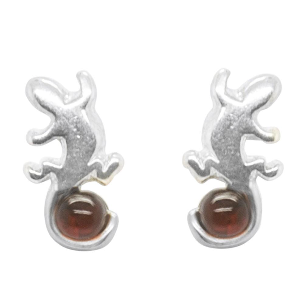 boucle d 39 oreille salamandre en argent et ambre cognac. Black Bedroom Furniture Sets. Home Design Ideas