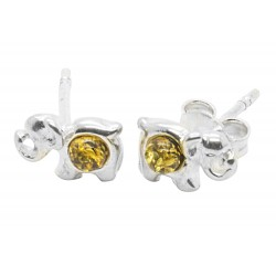 Green Amber Elephant stud earrings with sterling silver