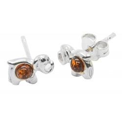 Elefant-Ohrring-Silber und Bernstein Cognac