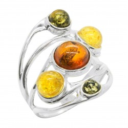 Silver Ring and Round Amber Pearl Multicolor