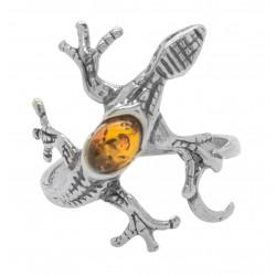 Anillo de plata lagarto y color ámbar miel