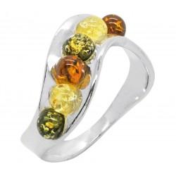 Silber und Perlmutt Bernstein-Ring Multicolor