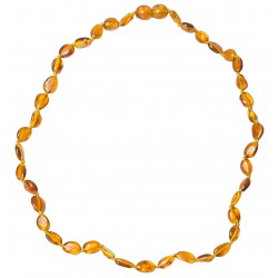 Necklace Amber Adult pearl olive color cognac