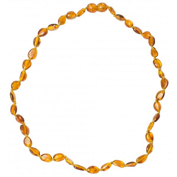 Collier en Ambre Adulte perle olive couleur cognac