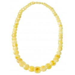 Royal amber necklace with button-shaped pearl