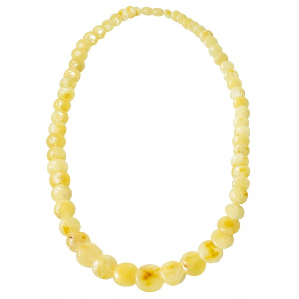 Collier d'ambre royal avec perle en forme de bouton