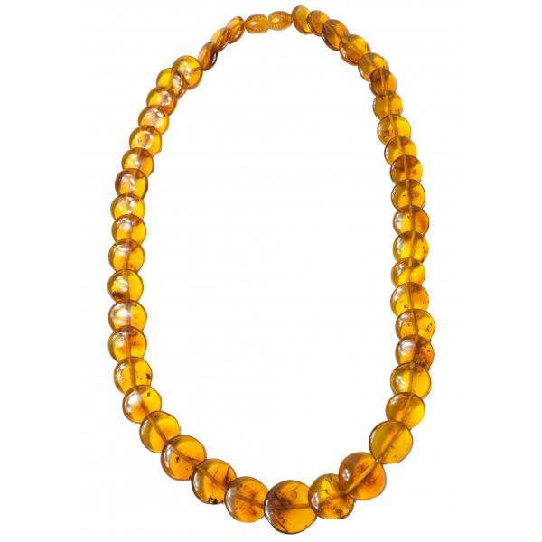 Collier d'ambre cognac avec perle en forme de bouton