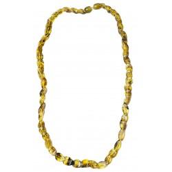 Collier avec losange d'ambre vert naturel