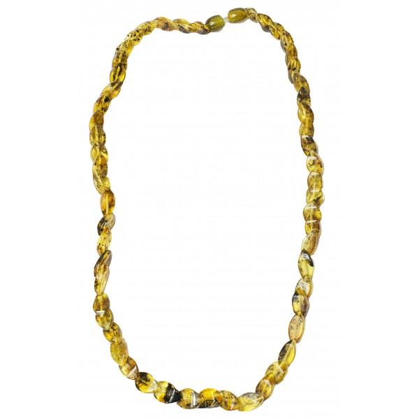 collana di diamante con naturale ambra verde