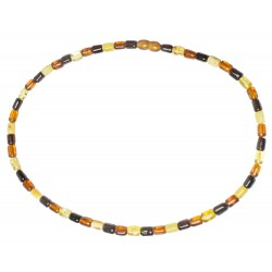 Amber necklace multicolored cylindrical pearl