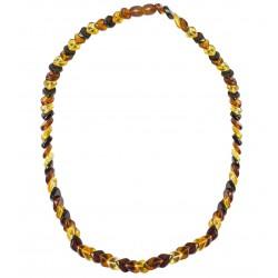 Collier d'ambre pierre losange couleur miel, cognac et citron