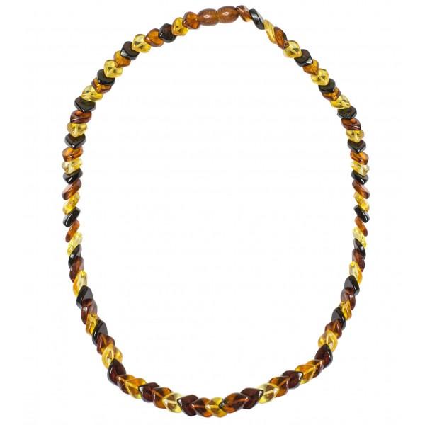 Collier long d'ambre pierre losange couleur miel, cognac et citron
