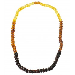 Rainbow amber necklace adult stone rhombus multicolored