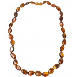 Adult amber necklace with big pearl cognac
