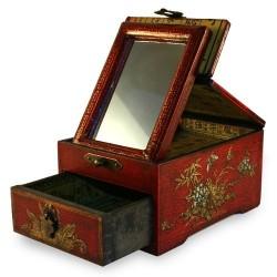 Pequeña joyería caja roja vieja china