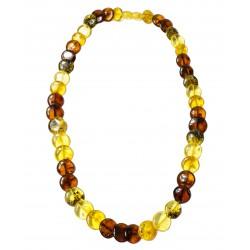 Collier d'ambre véritable bouton multicolore