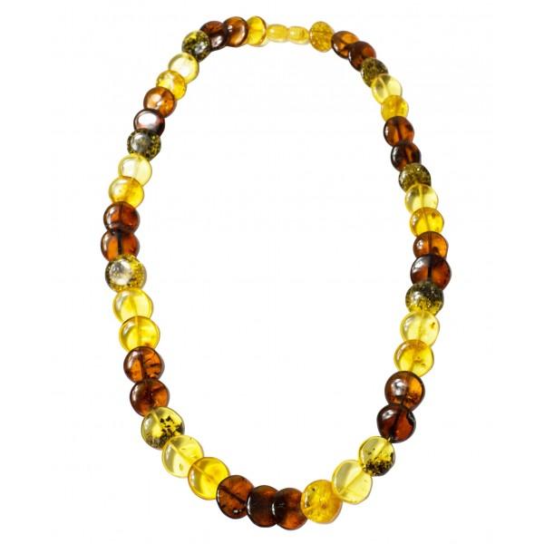 Genuine amber necklace multicolored button