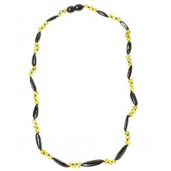 Collar de ámbar oval de Adultos y perla redonda de color cereza y limón