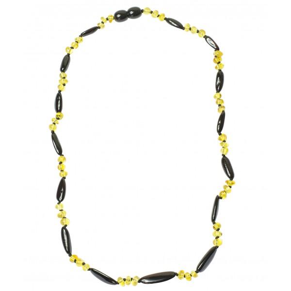 Collier Ambre Adulte perle ovale et ronde couleur cerise et citron