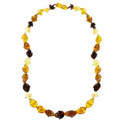 Multicolored natural amber necklace half moon