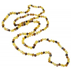 Very long necklace of multicolored natural amber