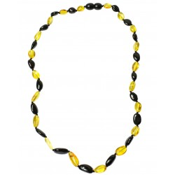 Amber necklace with lemon and cherry pearls, adult size