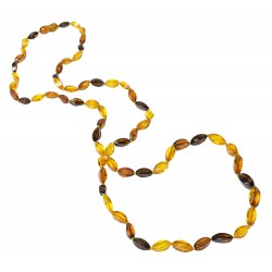 Long necklace of natural amber multicolor pearl elegance.