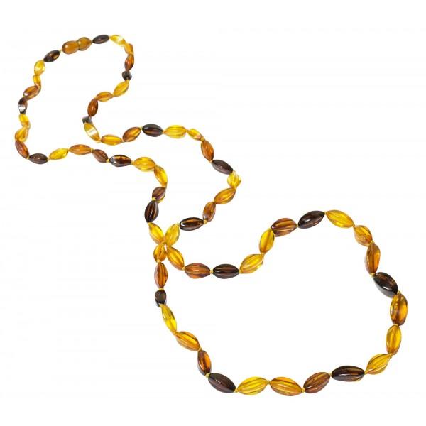 Long collier d'ambre naturel multicolore perle élégance.