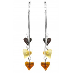 Boucles d'oreilles Argent et trio de coeur d'ambre multicolore