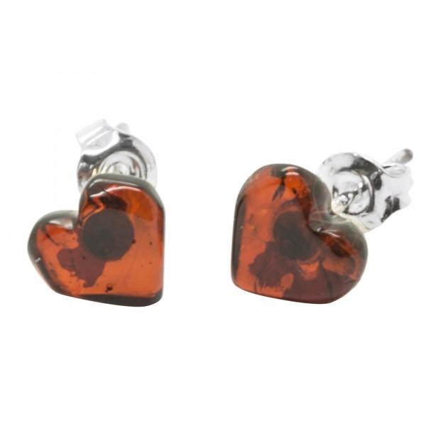 耳环银925的心脏和樱桃琥珀
