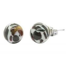 Boucle d'oreille ronde en Ambre mosaic