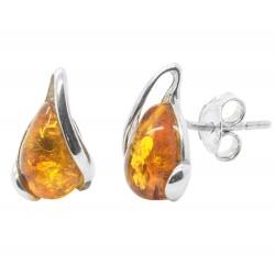 Ohrringe Silber und Bernstein Honig Tropfen