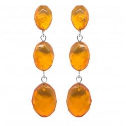 Honey amber earring, diamond cut