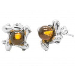 Square modern silver and round amber pearl earrings