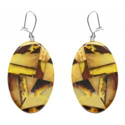 Boucle d'oreille Ambre mosaïque - forme ovale