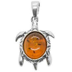 Silver Turtle and Honey Amber Pendant
